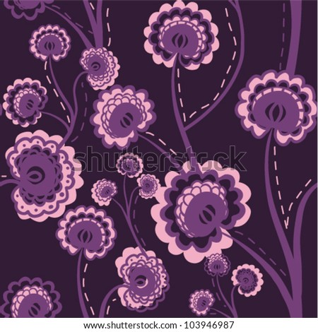 Purple seamless floral background with stylized flowers. (vector)