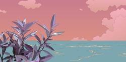 Purple secretia plant and beach landscape, tropical vibe cartoon, anime style illustration, light tint pastel color, aesthetic island summer backgound