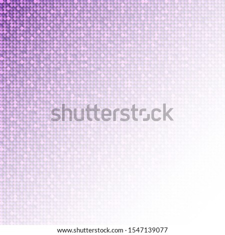 Purple sequins, glitters, sparkles, paillettes, mosaic background template. Abstract luxury halftone vector creative backdrop. Purple rounds with gradient trendy. Vibrant shiny dots glitter texture.