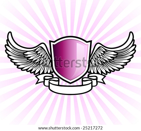 Purple shield emblem with wings and banner