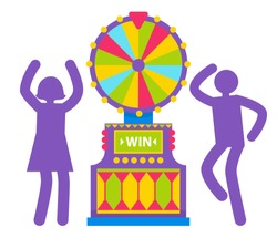 Purple silhouettes of man and woman spinning colorful fortune wheel. Lottery and gambling. Lucky roulette, game of chance, winning money, gamesome gambler or gamer bet in gaming computer machinery