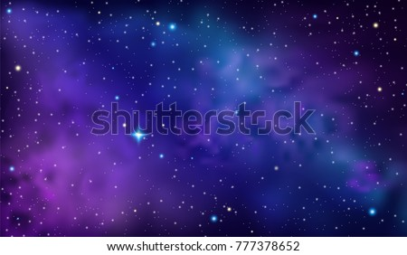 Purple Sky with Nebula and Stars. Vector Space Background