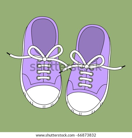 purple sneakers on a green background