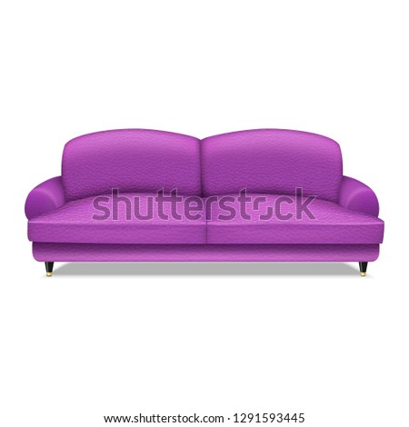 Purple sofa textile icon. Realistic illustration of purple sofa textile vector icon for web design isolated on white background