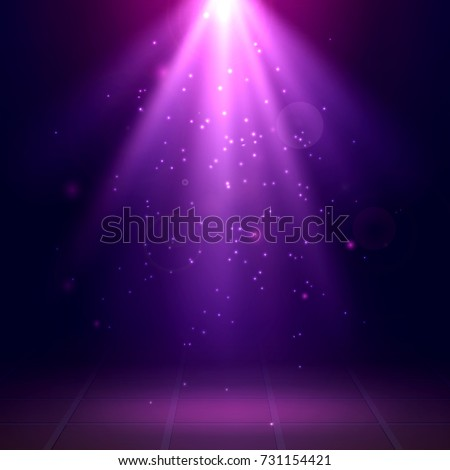 Purple spotlights. Scene. Disco. Light Effects. Vector illustration