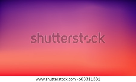 Purple Sunset Blurred Vector Background. Purplish Red Orange Gradient Mesh. Trendy Out-of-focus Effect. Dramatic Saturated Colors. HD format Proportions. Horizontal Layout.