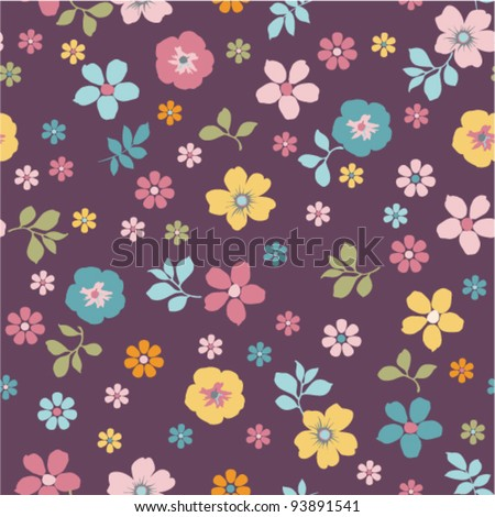 purple tiny floral seamless pattern