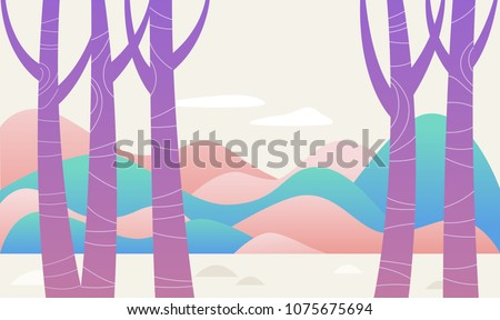 purple tree fantasy forest