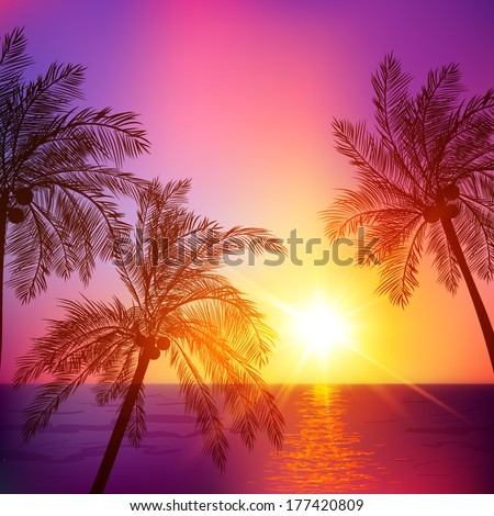 purple tropical sunset with