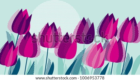 purple tulip flowers with dot