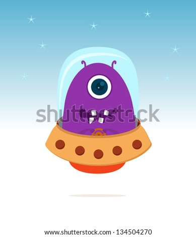 purple ufo and spaceship with stars