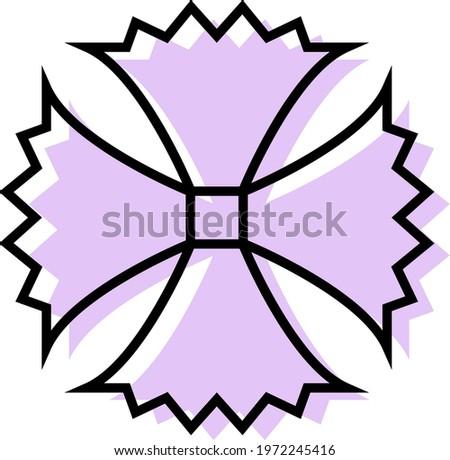 Purple unusual flower, icon illustration, vector on white background
