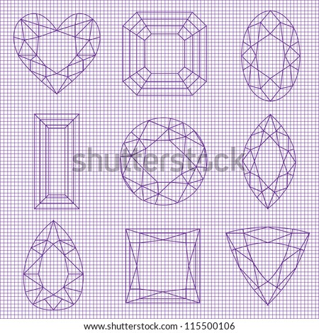 Purple Vector Gemstone Sketch on Graph Paper