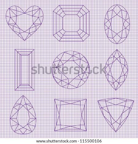 Purple Vector Gemstone Sketch on Graph Paper