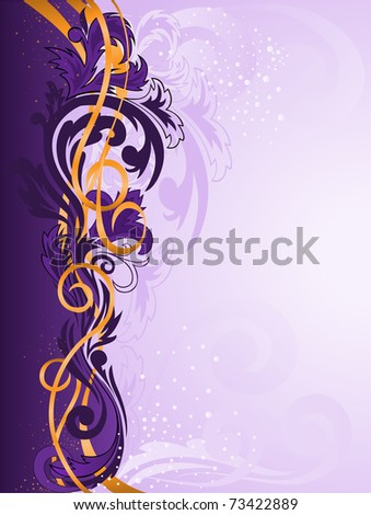 purple vertical stripe patterned with gold ribbons