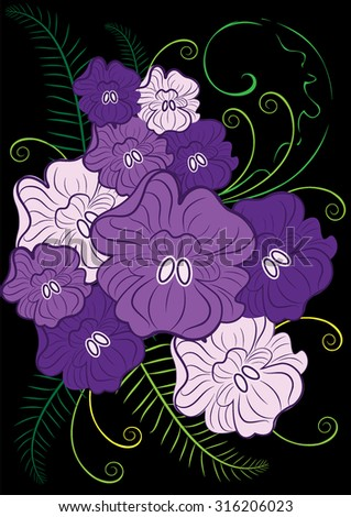 purple violet and purple flowers decorated