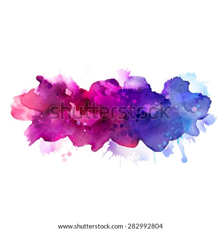 Purple, violet, lilac and blue watercolor stains