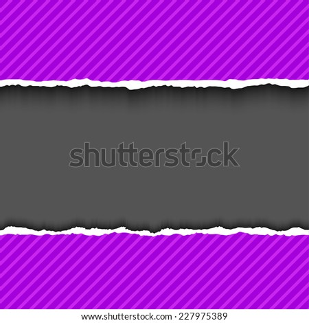 Purple violet textured torn paper strips. Vector EPS10 illustration. Design elements - colored paper with ripped edges