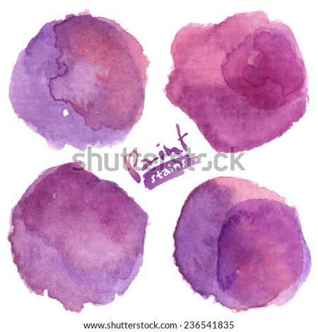 Purple watercolor painted vector stains set