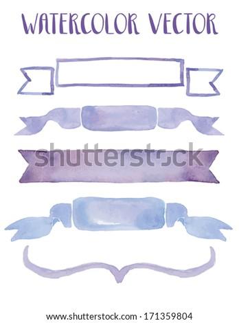 Purple Watercolor Vector Ribbons