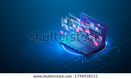 Purple Web Development concept, programming and coding. Adaptive layout internet page or web interface on screen laptop. Programming, testing cross platform on laptop. Technology software of site
