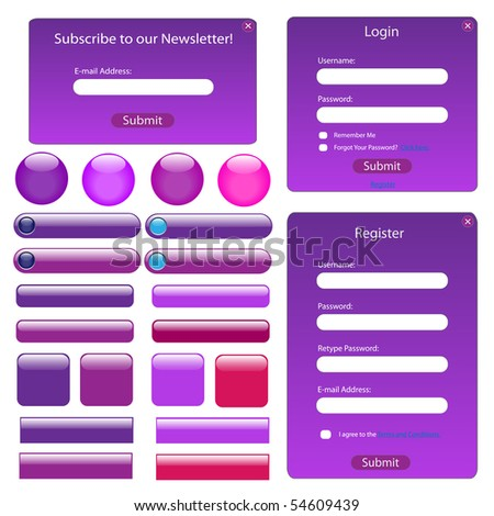 Purple web template with forms, bars and buttons.