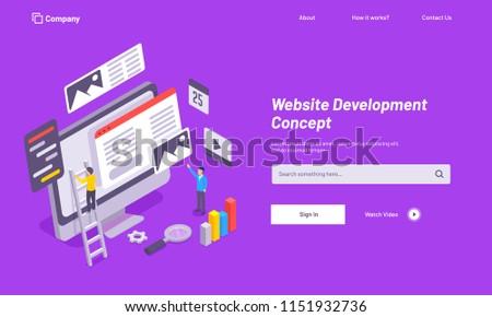 Purple website template design, website under maintenance, analytics analysis the data for Website Development concept.