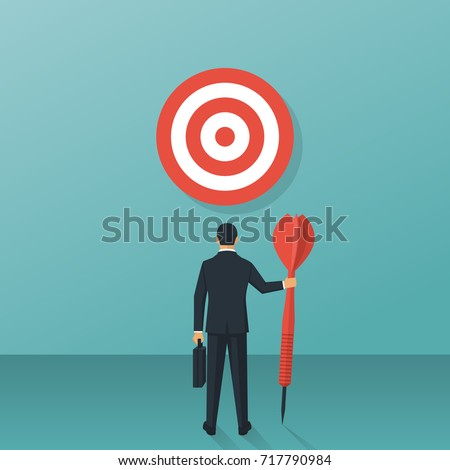 Purpose business concept. Purposeful businessman with spear in hand looks at the target. Achievement of goal. Vector illustration flat design. Aspirational people. Challenge achieve aim.