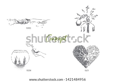 Purpose, woman swimming with fish, overworked man, freedom illusion, half healthy heart, metaphors banner. Surreal conceptions and abstract ideas concept sketch. Hand drawn vector illustration