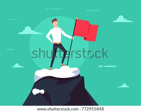 Purposeful businessman with flag in hand. Beginning of way to achievement of goal. Standing in front climb to mountain. Purpose concept. Vector illustration flat design. Aspirational people. Mission