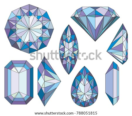 Purpule Diamond Crystals Vector Clip Art Set of 8 Gemstone illustrations