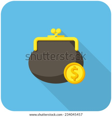 Purse and coin, modern flat icon with long shadow