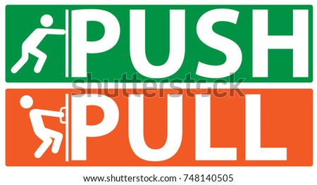 Push and pull icon, vector, plate,door pointer