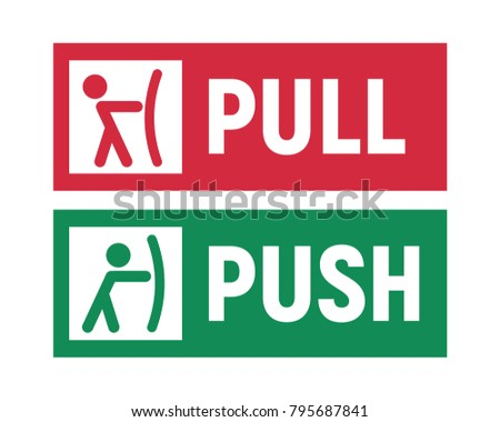 Push and Pull signs on doors. Vector illustration.