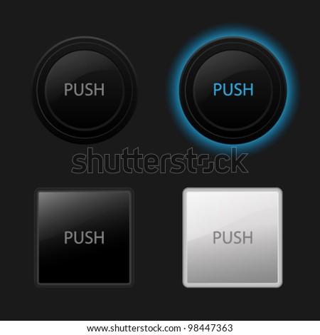 Push button. Keyboard black buttons on black background. Useful for web design (websites). Vector illustration - stock vector