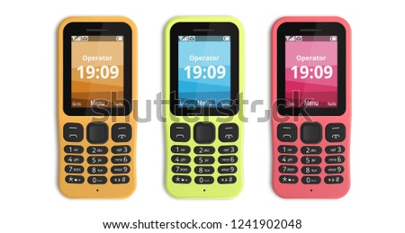 Push-button phones isolated on white background. Brand new featurefone in three colors: sand, lime, raspberry. Vector illustration.