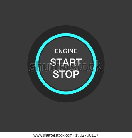 Push circle button engine stop start quality Foto stock ©