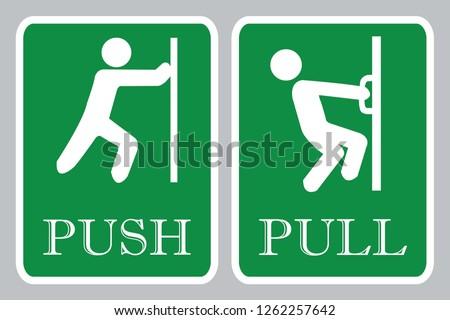 Push door icon & Pull door icon ストックフォト ©