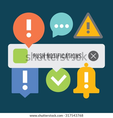Push notifications elements set. Background.