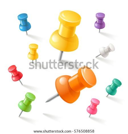 Push pins icons set. Vector illustrations.