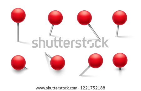 Push pins. Metal pin with plastic round red knob, thumbtack in different pushing angles. 3d vector school pushpin isolated set