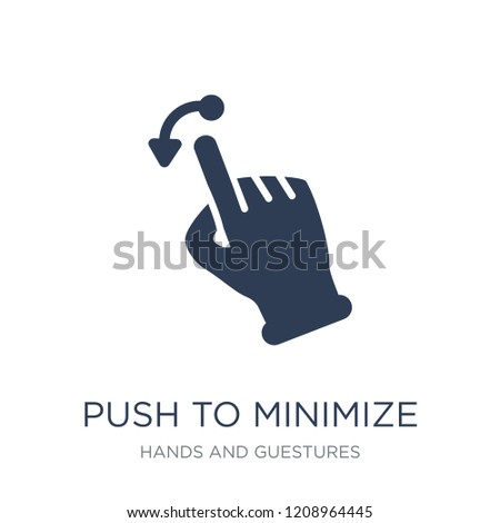 Push to minimize gesture icon. Trendy flat vector Push to minimize gesture icon on white background from Hands and guestures collection, vector illustration can be use for web and mobile, eps10