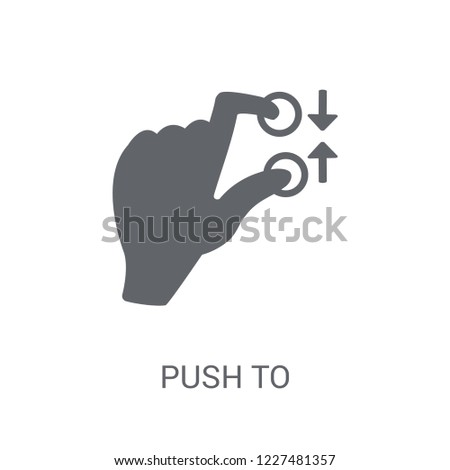 Push to minimize gesture icon. Trendy Push to minimize gesture logo concept on white background from Hands collection. Suitable for use on web apps, mobile apps and print media.