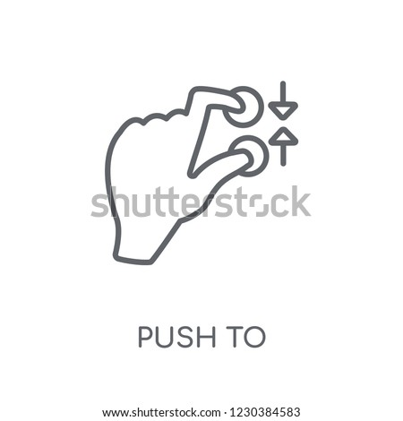 Push to minimize gesture linear icon. Modern outline Push to minimize gesture logo concept on white background from Hands collection. Suitable for use on web apps, mobile apps and print media.