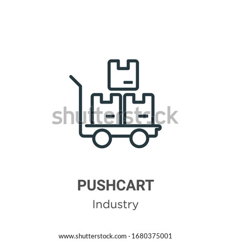 Pushcart outline vector icon. Thin line black pushcart icon, flat vector simple element illustration from editable industry concept isolated stroke on white background