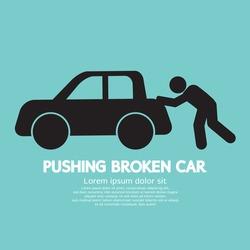 Pushing Broken Car Graphic Symbol Vector Illustration