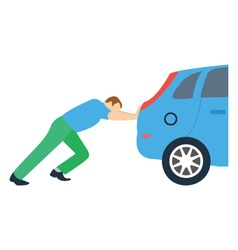 Pushing car flat detailed icon
