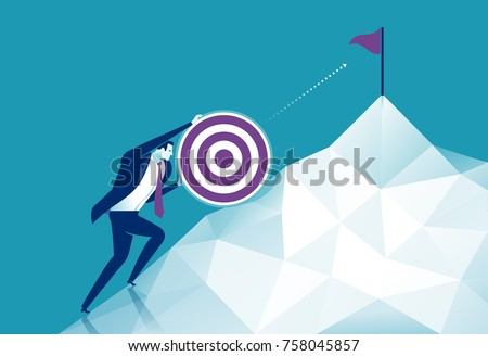 Pushing the goal to the top. Business concept vector illustration