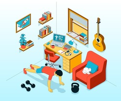 Pushup - exercise at home. Home workout in workplace. Vector isometric illustration.