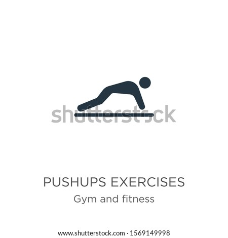 Pushups exercises icon vector. Trendy flat pushups exercises icon from gym and fitness collection isolated on white background. Vector illustration can be used for web and mobile graphic design, logo,